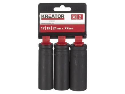 Kreator clé à douille profonde 17-19-21 mm 3 pièces