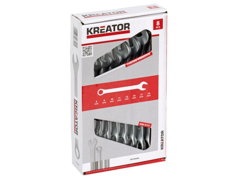 Kreator clé mixte 8-19 mm set de 8 pièces