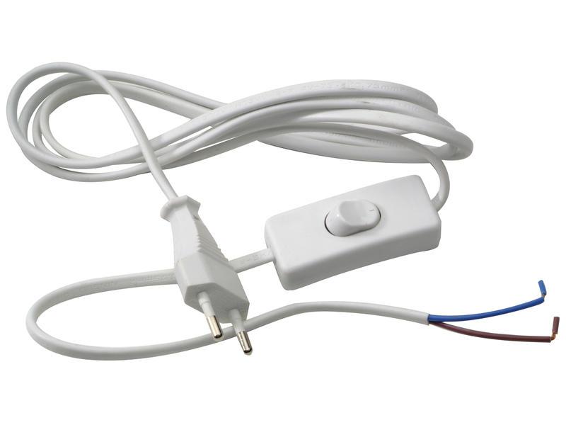 cordon électrique avec fiche et interrupteur 2m 2x0,75 mm² blanc