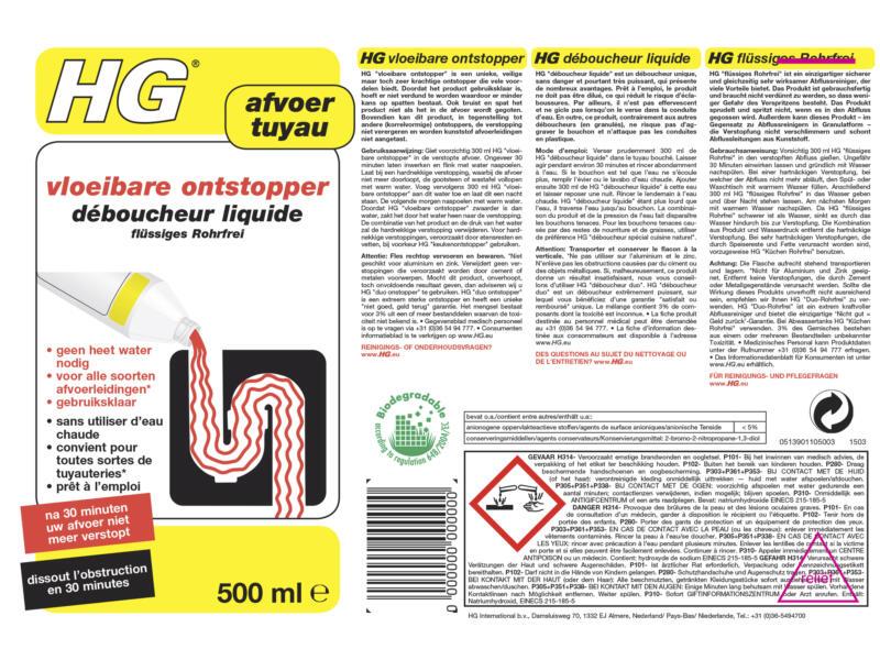 HG déboucheur liquide 500ml