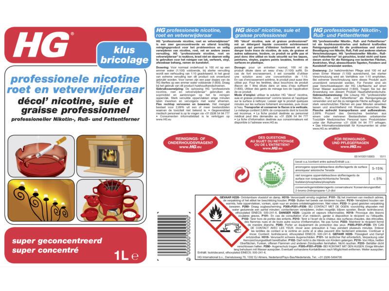 HG décol' nicotine, suie et graisse professionnel 1l