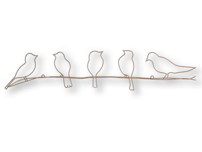 Art for the Home décoration murale en métal oiseaux sur fil 12,5x60 cm or rose