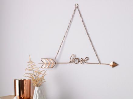 Art for the Home décoration murle en métal love story 31x43 cm or rose