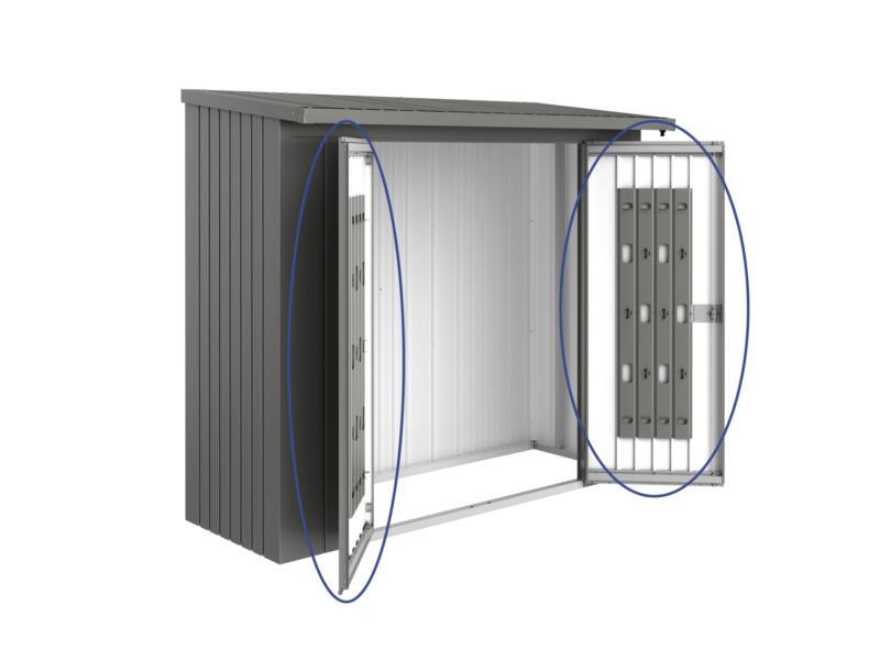 Biohort deurenpakket voor houtopslag Woodstock 230 kwartsgrijs metallic