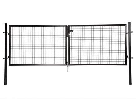 Giardino dubbele poort 300x100 cm zwart ronde palen