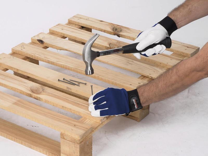 Kreator gants de travail M cuir/spandex bleu et blanc
