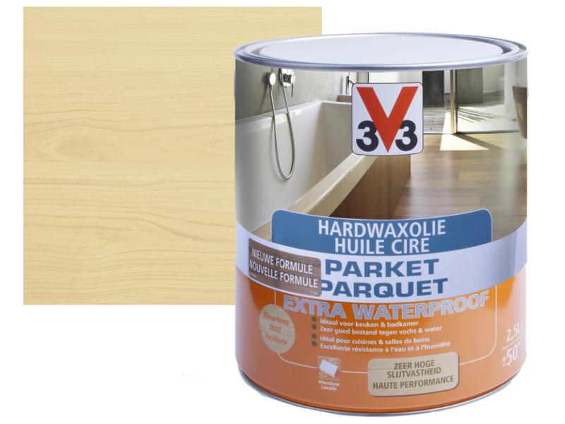 V33 hardwaxolie parket extra waterproof mat 2,5l kleurloos