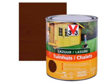V33 houtbeits tuinhuis zijdeglans 0,75l donkere eik