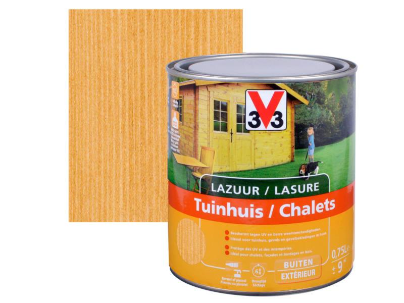 V33 houtbeits tuinhuis zijdeglans 0,75l midden eik