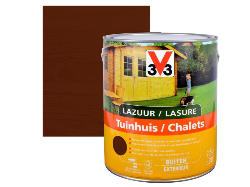 V33 houtbeits tuinhuis zijdeglans 2,5l donkere eik