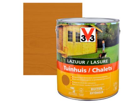 V33 houtbeits tuinhuis zijdeglans 2,5l lichte eik