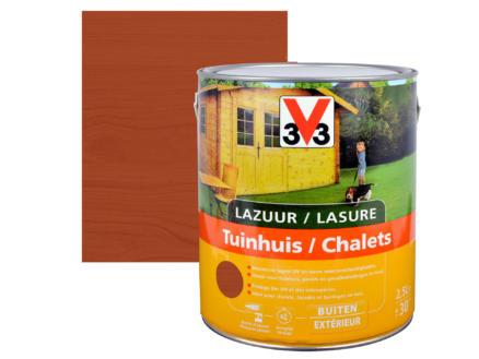 V33 houtbeits tuinhuis zijdeglans 2,5l mahonie