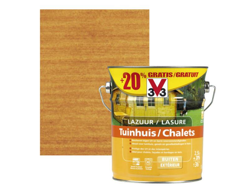 V33 houtbeits tuinhuis zijdeglans 2,5l meranti + 20% gratis