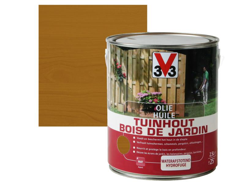 V33 huile bois de jardin mat 2,5l brun foncé