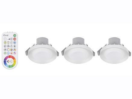 Jedi iDual Argon spot LED encastrable 7,3W + télécommande verre 3 pièces
