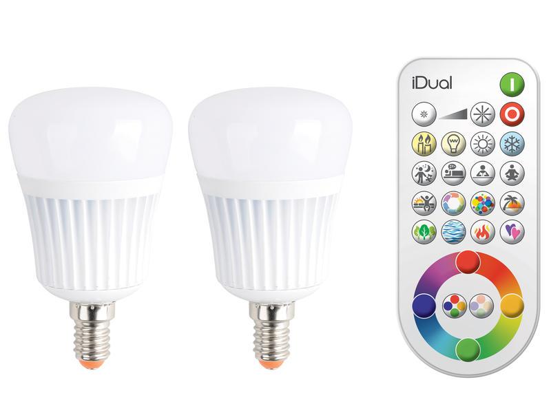 Jedi iDual LED lamp E14 7W 2 stuks + afstandsbediening