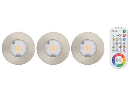 Jedi iDual Performa spot LED encastrable 7,5W + télécommande aluminium 3 pièces