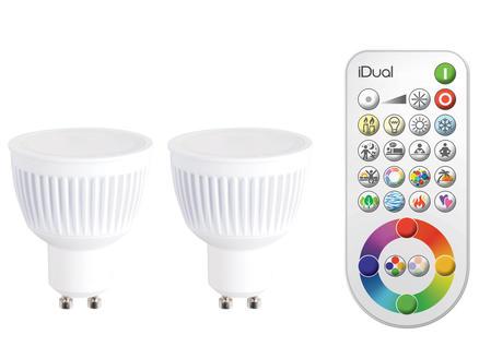 Jedi iDual Spot LED GU10 7W 2 pièces + télécommande