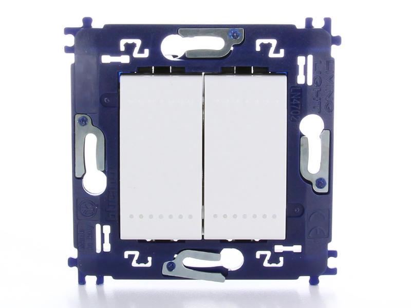 Bticino interrupteur unipolaire simple allumage double avec vis blanc