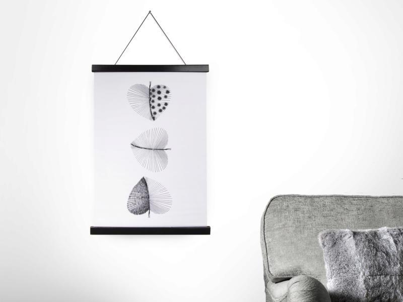 Art for the Home kakémono décoratif 40x60 cm feuilles noir/blanc