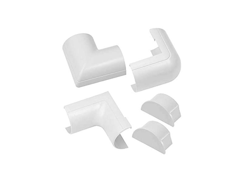 kit adaptateur pour goulotte demi-cercle 50x25 mm blanc 5 pièces