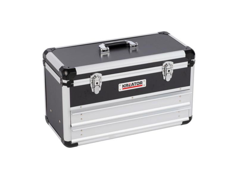 Kreator koffer met 2 lades 52,3x24x30,5 cm aluminium zwart