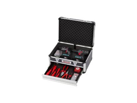 Kreator koffer met lade 43x30x20,5 cm aluminium zwart