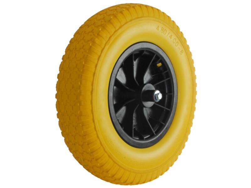 AVR kruiwagenwiel 400mm kunststof velg geel