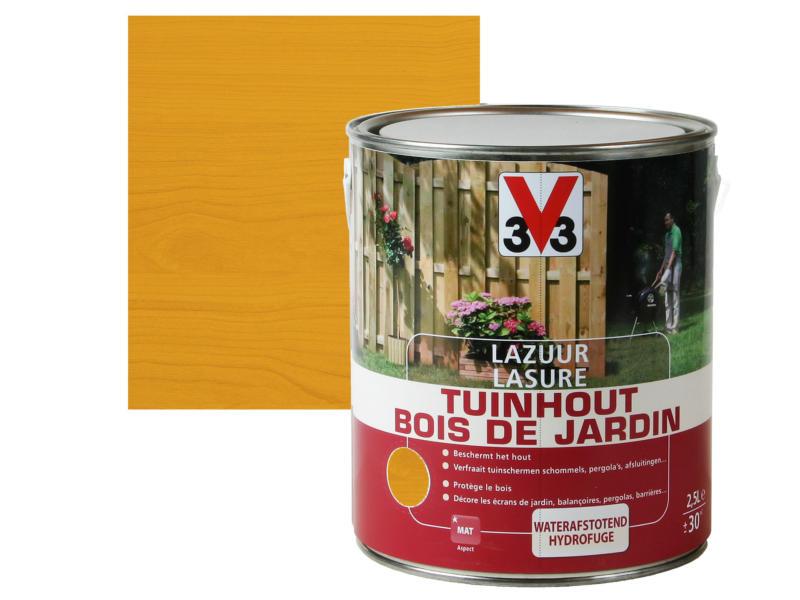 V33 lasure bois de jardin mat 2,5l brun clair