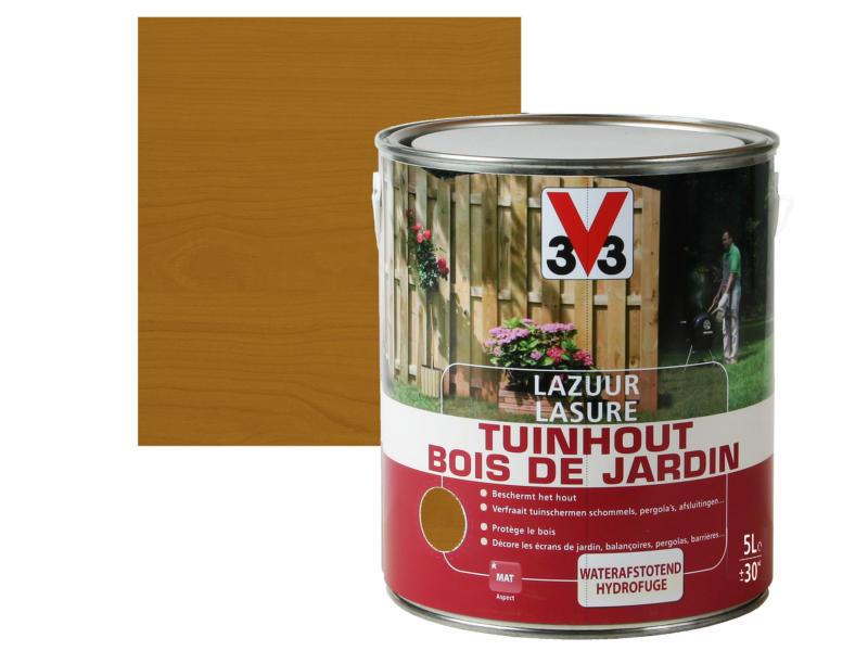 V33 lasure bois de jardin mat 5l brun foncé