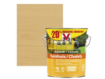 V33 lasure chalet satin 2,5l + 20% gratuit chêne clair