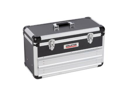 Kreator mallette avec 2 tiroirs 52,3x24x30,5 cm aluminium noir