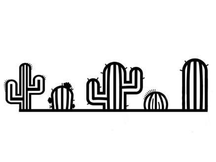 Art for the Home metal art cactus 19x65 cm noir