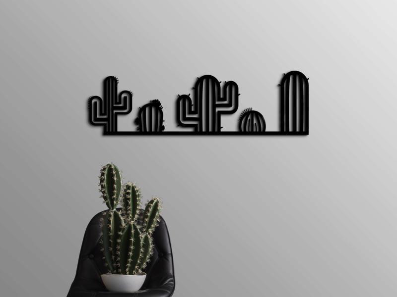 Art for the Home metal art cactus 19x65 cm zwart