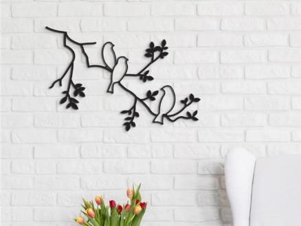 Art for the Home metal art oiseau 41x63 cm noir