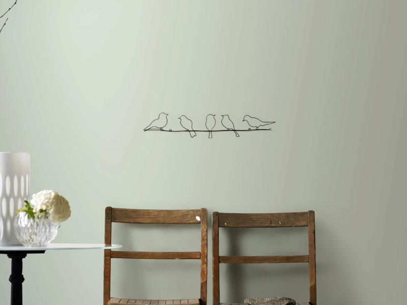 Art for the Home metal art vogeltjes 60x12,5 cm zwart