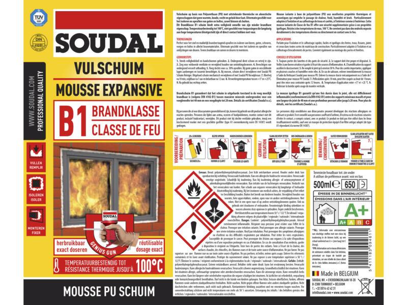 Soudal mousse PU ignifuge B1 500ml