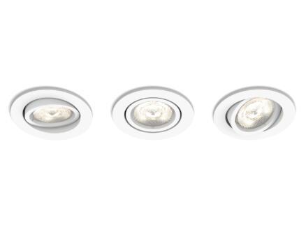 Philips myLiving Casement spot LED encastrable rond 4,5W dimmable blanc 3 pièces