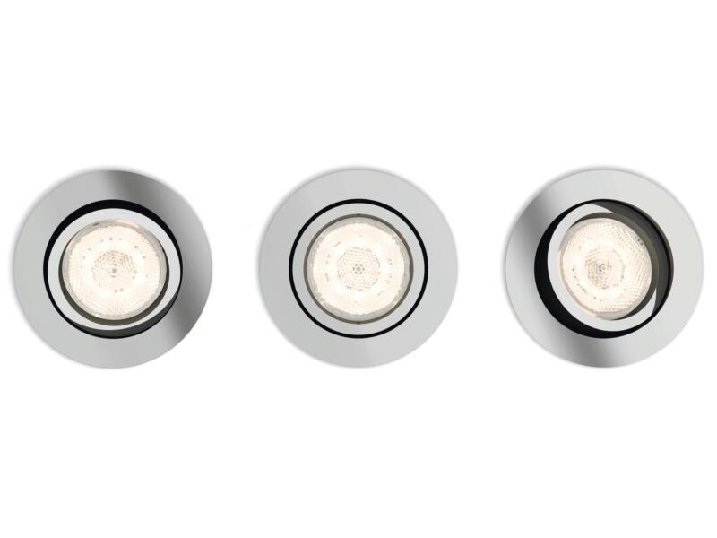 Philips myLiving Shellbark LED inbouwspot rond 4,5W dimbaar chroom 3 stuks