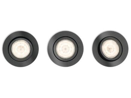 Philips myLiving Shellbark LED inbouwspot rond 4,5W dimbaar grijs 3 stuks