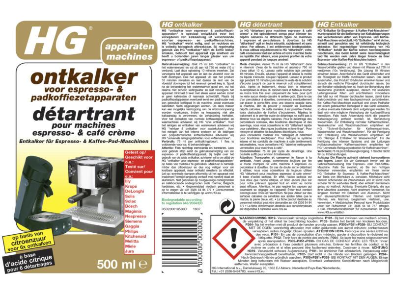 HG ontkalker espresso- en padkoffiezetapparaten 500ml