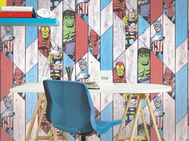 papier peint papier Wood panel multicolore
