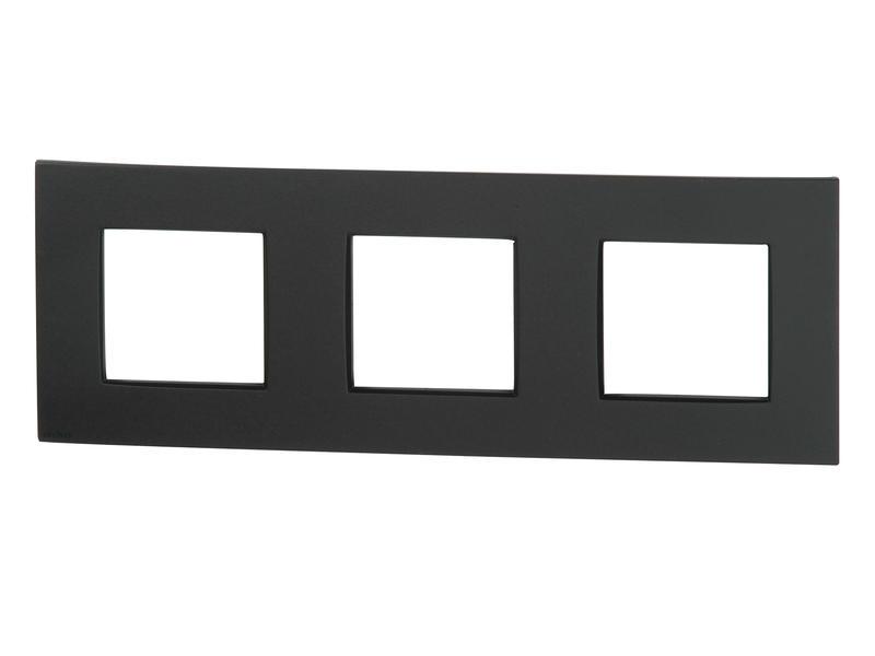 Niko plaque de recouvrement triple horizontal Intense anthracite