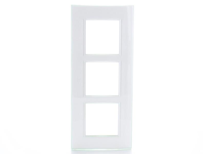 Bticino plaque triple LivingLight vertical aqua