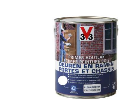V33 primer peinture bois portes & châssis mat 2,5l blanc