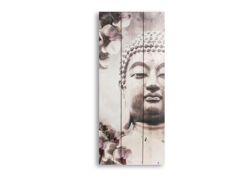Art for the Home print op hout 30x70 cm boeddha