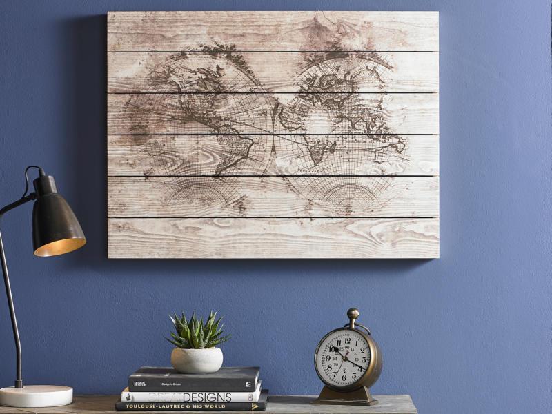 Art for the Home print op hout 80x60 cm wereldkaart