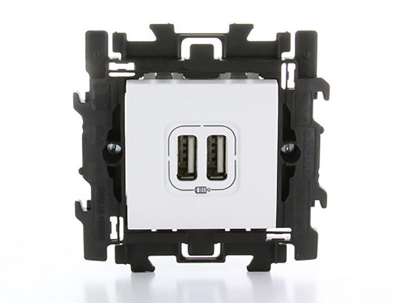 Bticino prise avec 2 chargeurs USB à griffes blanc