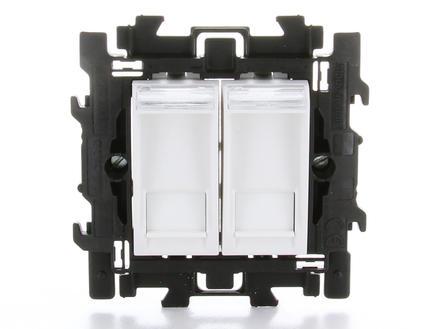 Bticino prise double RJ45 6 UTP à griffes blanc