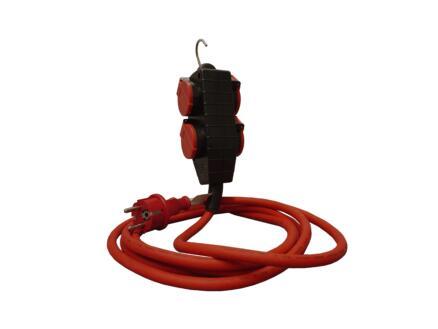 rallonge quadruple prise à clapet 3m 3G 1,5mm² rouge